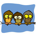 Three cute isolated cartoon birds in a tree branch Royalty Free Stock Photo