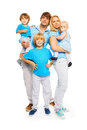Three cute kids with happy parents beautiful family two boys and little girl isolated on white Stock Photos