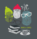 Three cute owls with books and cup of coffee