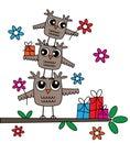 Three cute owls happy birthday Royalty Free Stock Photo