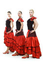 Three dancers in national Spanish costumes Royalty Free Stock Images