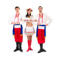 Three dancers wearing a folk ukrainian costumes Royalty Free Stock Photo