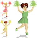 Three dancing cheerleaders Royalty Free Stock Photo
