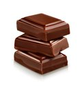 Three dark Chocolate pieces Royalty Free Stock Photo