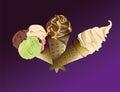 Three delicious ice creams