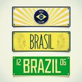 Three designs car plates brazil design signboard in style with inscription vector eps Royalty Free Stock Photos