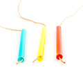 Three different colored straws wich represent three ways Royalty Free Stock Photo