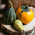 Three different decorative pumpkins Royalty Free Stock Photography