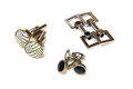 Three different design of cufflink for man clothing accessories comes in pair Royalty Free Stock Image