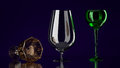 Three different glasses dark background Stock Photography