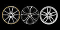 Three different rims in a black background Royalty Free Stock Photo