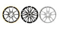 Three different rims in a white background Royalty Free Stock Image
