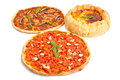 Three different Stye pizzas Royalty Free Stock Photo