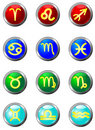 Three Dimensional circle button sign. Zodiac. Stock Images