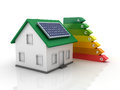 Three dimensional illustration of energy efficiency rating and house with solar planel Royalty Free Stock Photo