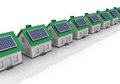 Three dimensional illustration of houses with solar panel Stock Photography