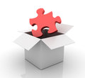 Three dimensional illustration of jigsaw piece and opened box Stock Photos