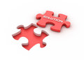 Three dimensional illustration jigsaw piece solution word Stock Photography