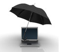 Three dimensional illustration laptop umbrella Royalty Free Stock Photography