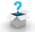 Three dimensional illustration of man with questions and opened box Stock Photography