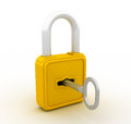 Three dimensional illustration of padlock and key Royalty Free Stock Images