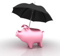 Three dimensional illustration of piggy bank and umbrella Stock Image