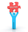 Three dimensional illustration of solution concept made with pictogram people and jigsaw piece Stock Photo