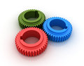 Three dimensional illustration three colored gears Stock Images