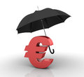 Three dimensional illustration of umbrella with euro sign Stock Image