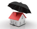 Three dimensional illustration of umbrella and house Stock Photos