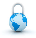Three dimensional illustration of world and padlock Royalty Free Stock Image