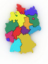 Three-dimensional map of Germany. 3d Stock Photography