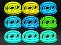 9 glassy e-mail symbols, green, yellow and blue neon light Royalty Free Stock Photo