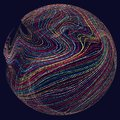 Three-dimensional sphere composed of multicolored curves. Royalty Free Stock Photo