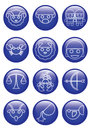 Three dimensions blue glass cartoon zodiac icon in line design Royalty Free Stock Photo