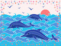 Three dolphins in the sea waves at sunrise hand drawing vector illustration Stock Image