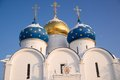 Three domes church this picture was done in russian city sergiev posad Stock Photo
