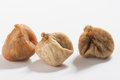 Three dried figs isolated Royalty Free Stock Photo