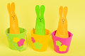 Three easter bunnies in buckets on yellow paper background Stock Images
