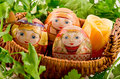 Three easter eggs thermal labels depicting russian girls national costumes eggs basket as nest greenery Royalty Free Stock Images