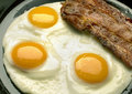 Three eggs with bacon on plate Royalty Free Stock Image