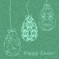 Three eggs green denim background with delicate easter vector illustration Stock Photography