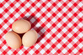 Three eggs on picnic tablecloth Royalty Free Stock Image