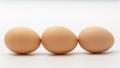 Three eggs on a white background Royalty Free Stock Photo
