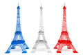 Three eiffel towers in french flag colors on a white background Stock Photo