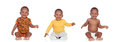 Three equal african babies with differents clothes isolated on white background Royalty Free Stock Photography