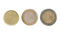 Three euro coins isolated on white background Stock Image