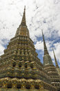 Three exquisite pagoda in wat pho Royalty Free Stock Photo