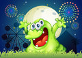 A three eyed monster at the carnival illustration of Stock Photo