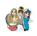 Three fashion girls Royalty Free Stock Photo